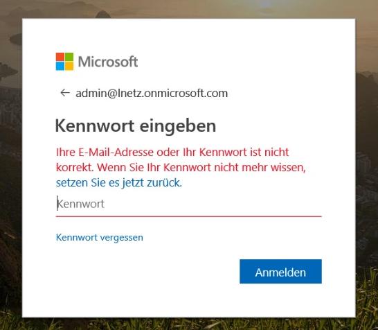 Office 365 Anmeldung Admin Center Screenshot 2