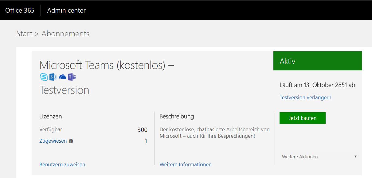 Office 365 Admin Center Screenshot 2