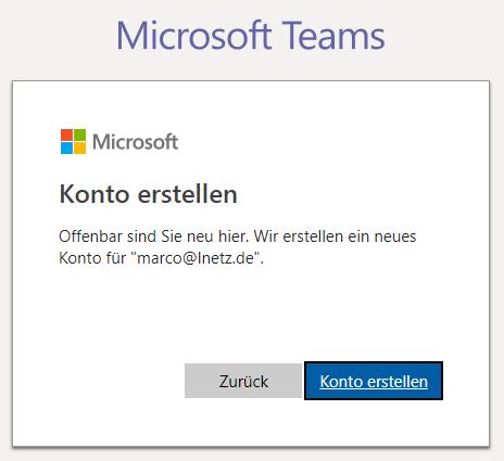 Anmeldung Microsoft Teams Screenshot 2