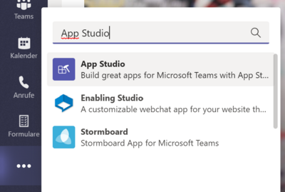 App Studio in MS Teams