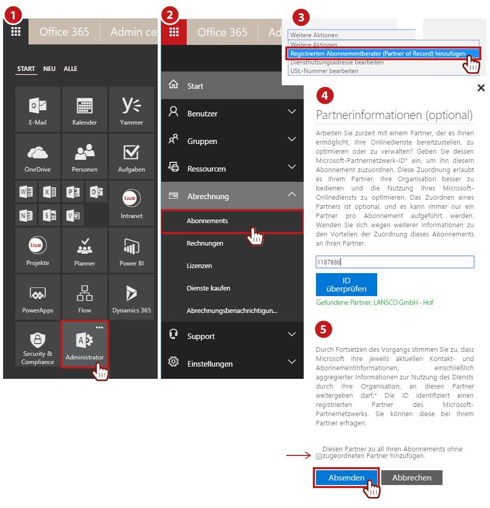 Beschreibung Hinzufügen von Lansco als Office 365 Partner
