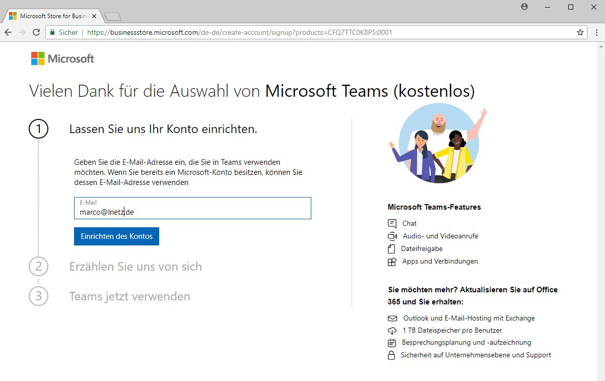 Anmeldung Microsoft Teams Screenshot