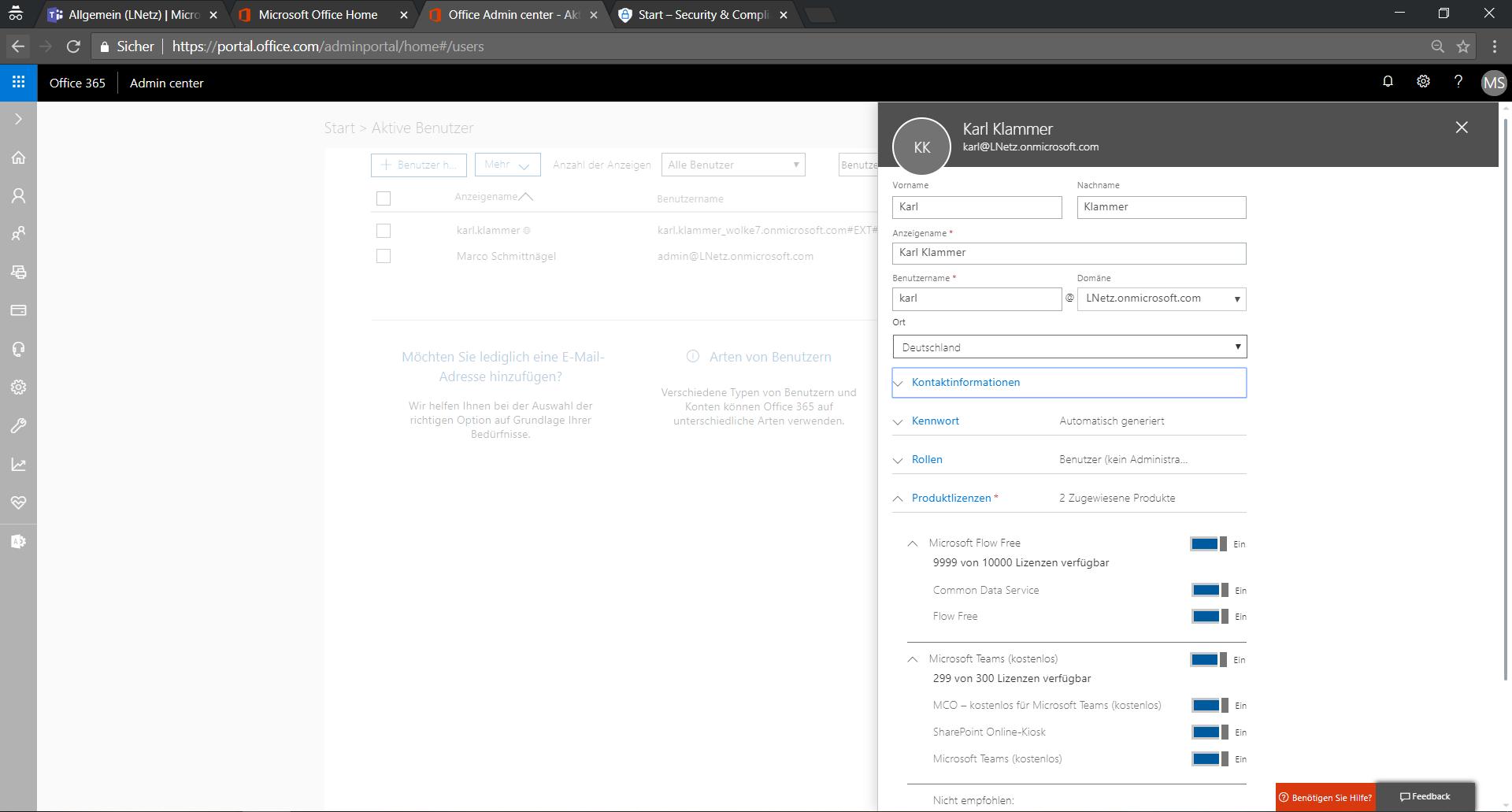 Office 365 Neuen Benutzer hinzufügen Screenshot