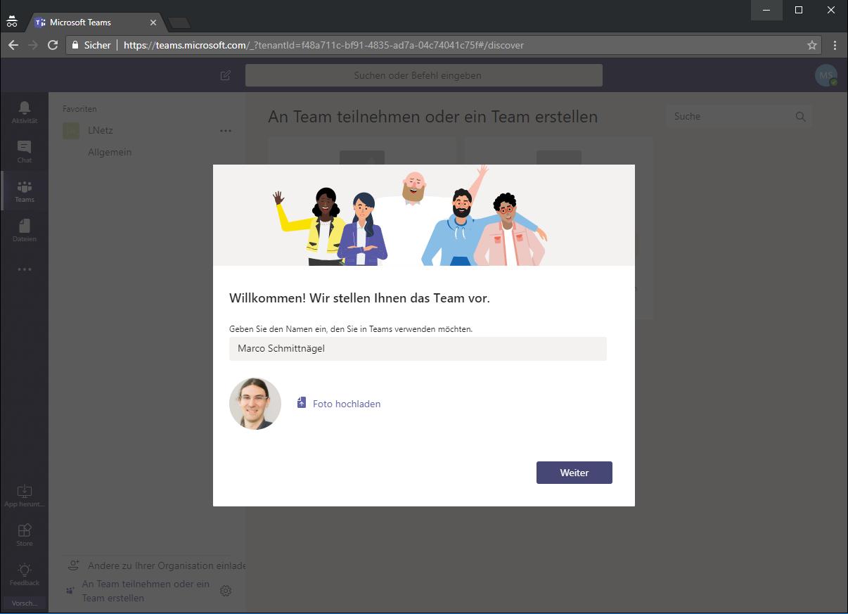 Anmeldung Microsoft Teams Screenshot 4