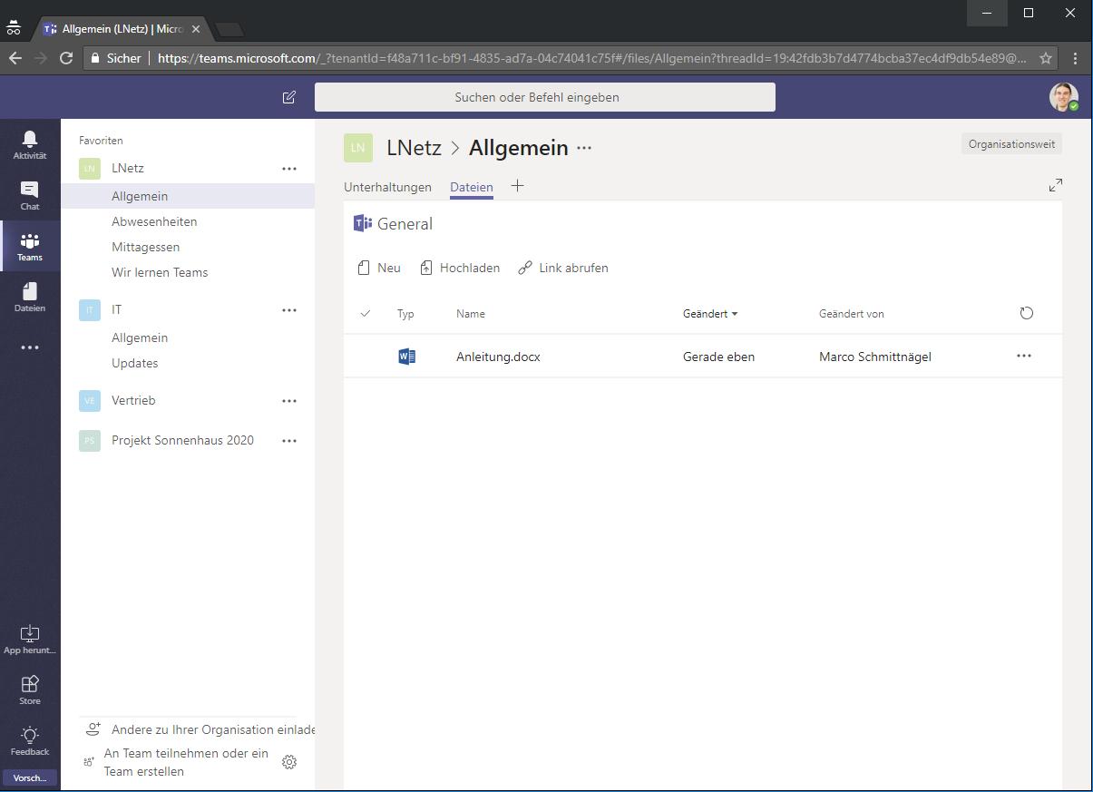 Microsoft Teams Chat Screenshot