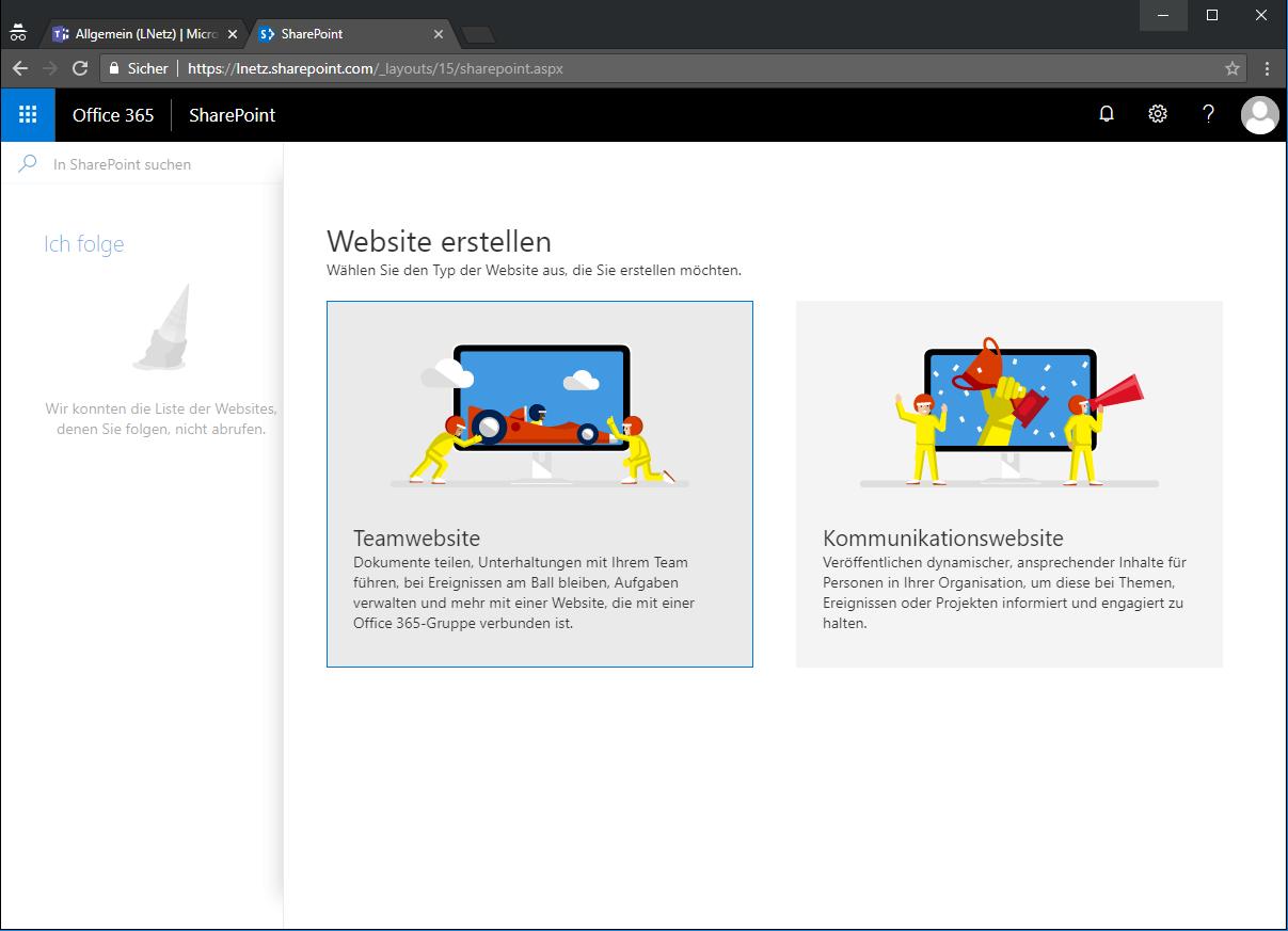 Office 365 SharePoint Site erstellen Screenshot