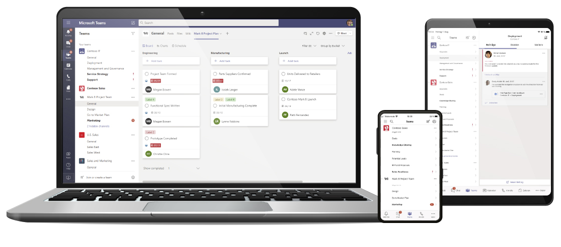 Microsoft Teams Web, Handy, Tablet