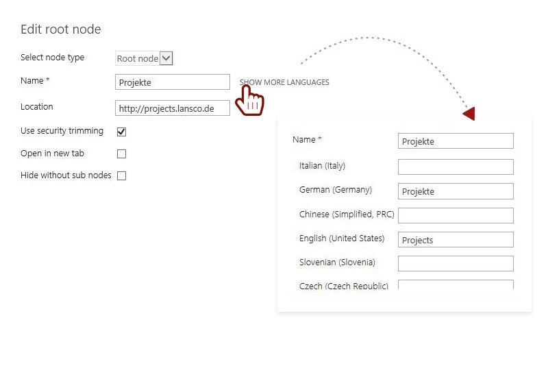 Mehrsprachige Navigationstitel hinterlegen Screenshot